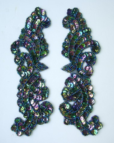LR148-5 Left & Right Mirror Pair Sequin Bead Applique Black Iris