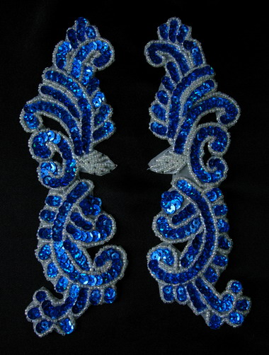 LR148-8 Left & Right Mirror Pair Sequin Bead Applique Blue