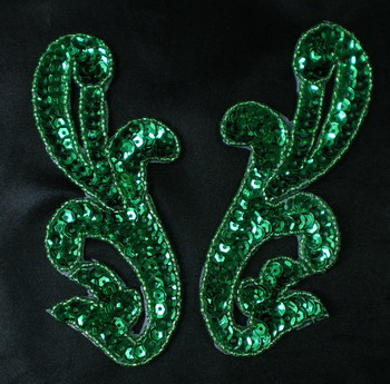 LR15-2 Pair Left & Right Sequin Bead Applique Green