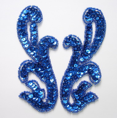 LR15-5 Pair Left & Right Sequin Bead Applique Royal Blue