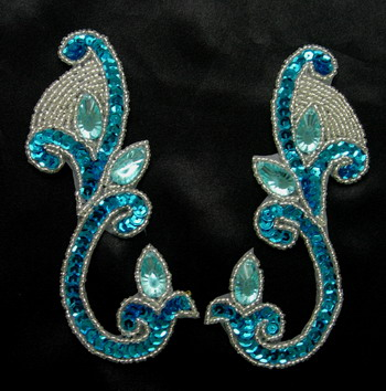 LR151-4 Aqua Mirrored Pair Sequin Bead Applique w/Gemstones