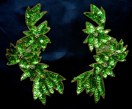 LR158-5 LR Mirror Pair Flower Sequin Bead Applique Lime