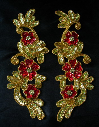 LR159 LR Mirror Pair Floral Sequin Bead Applique Gold Red