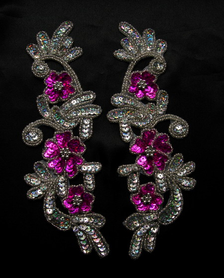 LR160-3 LR Mirror Pair Floral Sequin Bead Applique Fuchsia Silve