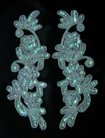 LR160-5 LR Mirror Pair Floral Sequin Bead Applique White AB