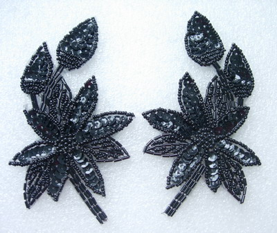 LR163-5 Mirror Pair Black Leaf Flower Sequin Beaded Applique
