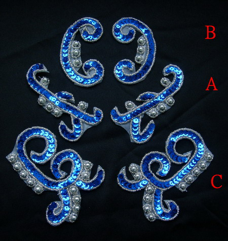 LR167-6 Mirrored Pairs Sequin Bead Applique Royal Blue Mix 3pr