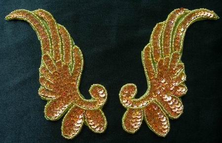 LR16 Pair Left & Right Sequin Bead Applique Hologram Brass