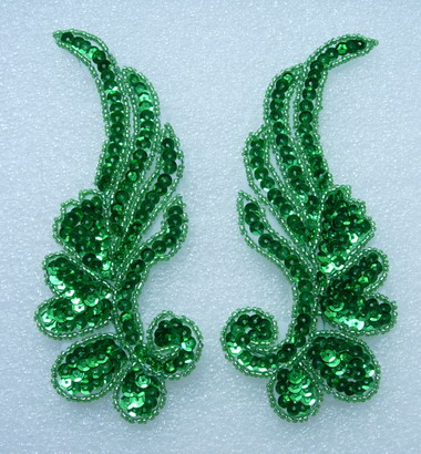 LR17-10 Mirror Left Right Pair Leaf Sequin Bead Applique Green