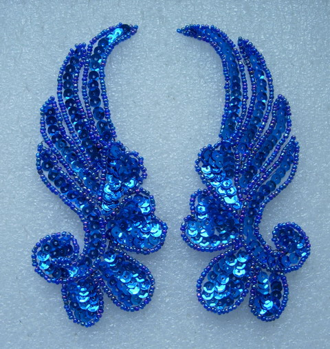 LR17-11 Mirror Left Right Pair Sequin Bead Applique Royal Blue