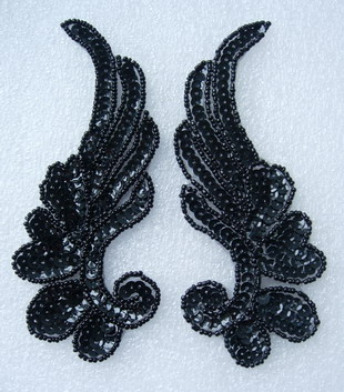 LR17-12 Mirror Pair L&R Floral Leaf Sequin Bead Applique Black