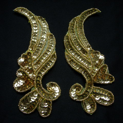 LR17-3 Mirror Pair Left Right Sequin Bead Applique Gold