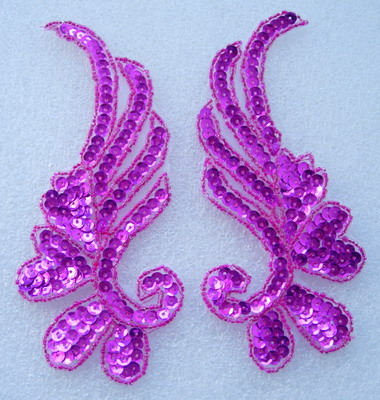 LR17-6 Mirror Pair Left Right Sequin Bead Applique Fuchsia