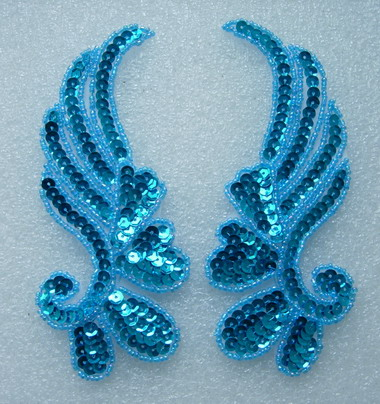 LR17-7 Mirror Pair Left Right Sequin Bead Applique Aqua