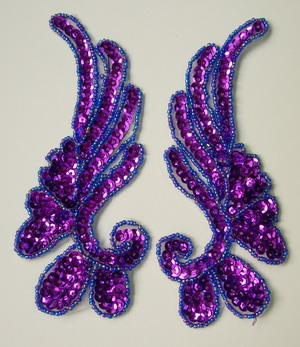 LR17-8 Mirror Pair Left Right Sequin Bead Applique Purple