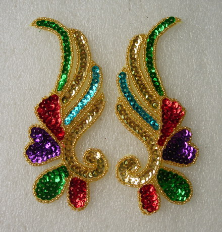 LR17 Mirror Pair Left Right Sequin Bead Applique Multicolor