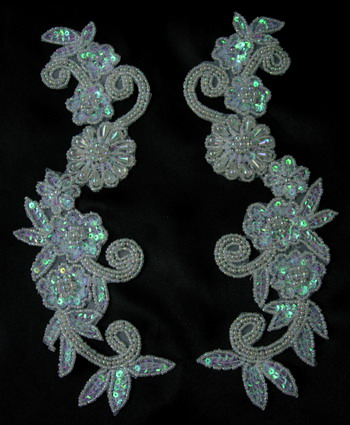 LR20-2 Floral Mirror Sequin Bead Applique Crystal White