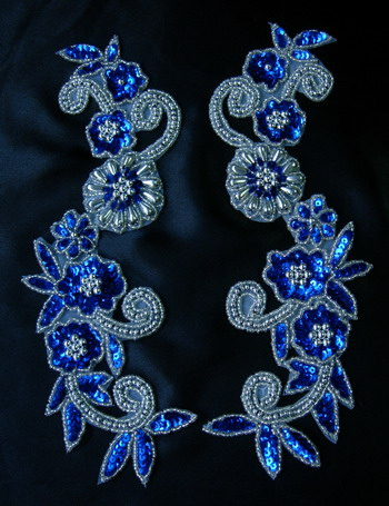LR20-3 Floral Mirror Sequin Bead Applique Royal Blue