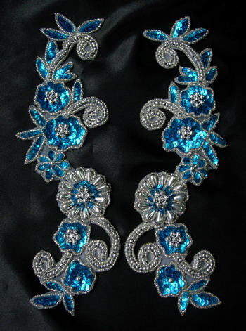 LR20-5 Floral Mirror Sequin Bead Applique Aqua Blue