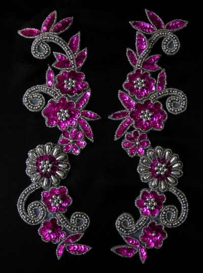 LR20-7 Floral Mirror Sequin Bead Applique Fuchsia