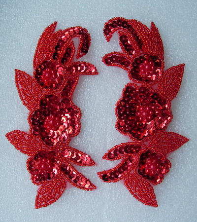 LR218 Floral Flower Mirror Pair Sequin Beaded Applique Motif Red