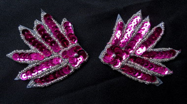 LR221 Mirror Pair Leaf Flower Sequin Beaded Applique Fuchsia