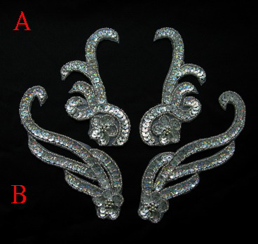 LR223 Floral Mirror Pair Sequin Bead Applique Hologram Silver 2p