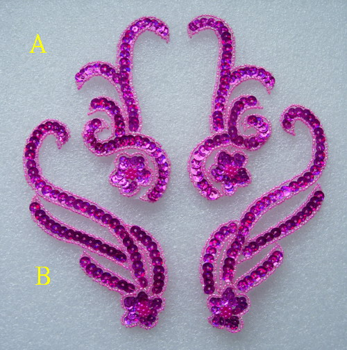 LR228 Floral Mirror Pair Sequin Beaded Applique Motif Fuchsia 2p