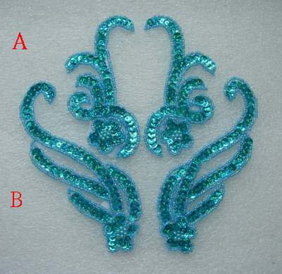 LR229-3 Floral Mirror Pair Sequin Beaded Applique Aqua 2prs
