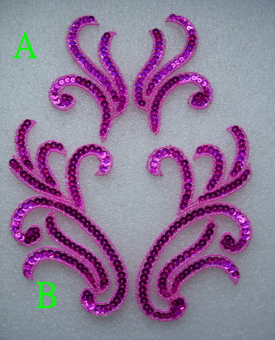 LR230-2 Pair Curly Floral Sequin Beaded Applique Fuchsia 2pairs