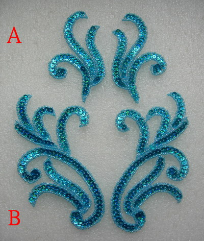 LR230-3 Pair Curly Floral Sequin Beaded Applique Aqua 2pairs