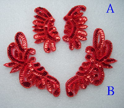 LR233 Mirror Pair Floral Sequin Beaded Applique Motif Red 2prs