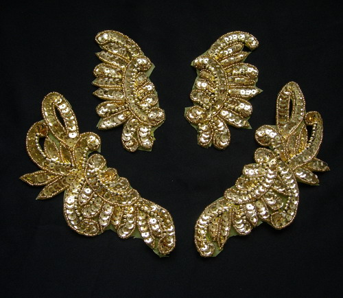 LR234-2 Mirror Pair Floral Sequin Beaded Applique Gold 2prs