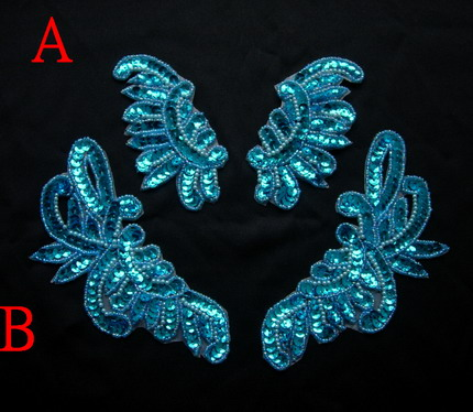 LR234-4 Mirror Pair Floral Sequined Beaded Applique Aqua 2prs