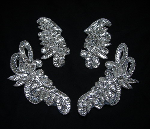 LR234-3 Mirror Pair Floral Sequin Beaded Applique Silver 2prs