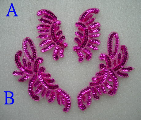 LR234-5 Mirror Pair Floral Sequined Beaded Applique Fuchsia 2prs