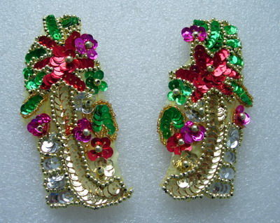 LR235 Colorful Mirror Pair Floral Sequin Beaded Applique Motif