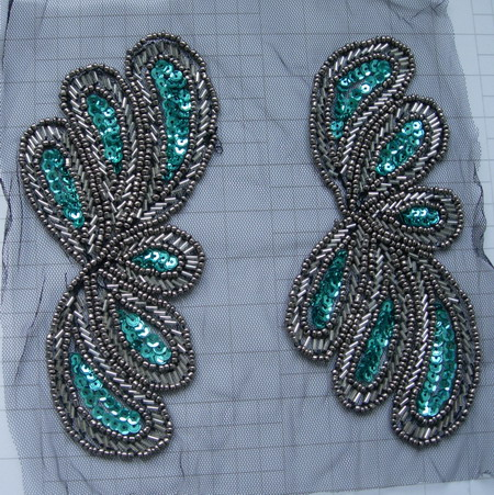 LR236 Mirror Leaves Floral Sequin Beaded Applique Tulle Motif