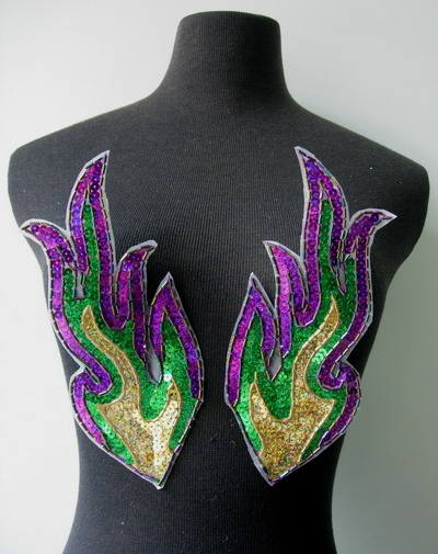 LR238 Mirror Flamed Hologram Sequined Bugle Beaded Applique