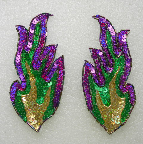 "LR239 5.5"" Paired Flamed Hologram Sequined Bugle Beaded Applique"