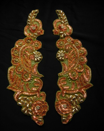 "LR242 13.5"" Mirror Pair Floral Sequined Beaded Applique Brass"