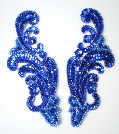 LR41-2 Wave Pattern LR Sequin Bead Applique Royal Blue