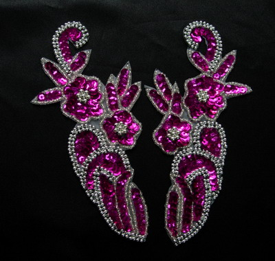 LR59-4 Sequin Bead Applique L&R Mirror Design Flower Fuchsia