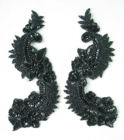 LR65-2 Long Morror Pair L&R Sequin Bead Applique Black