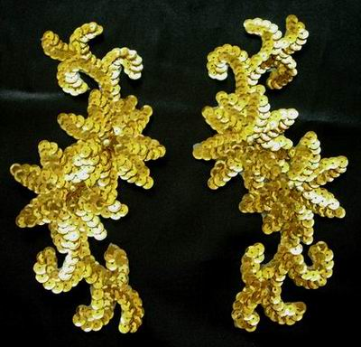 LR75 LR Pair Sequin Bead Applique Gold