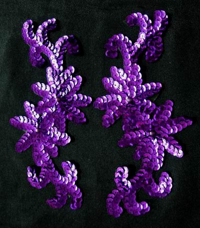 LR79 LR Pair Sequin Bead Applique Purple