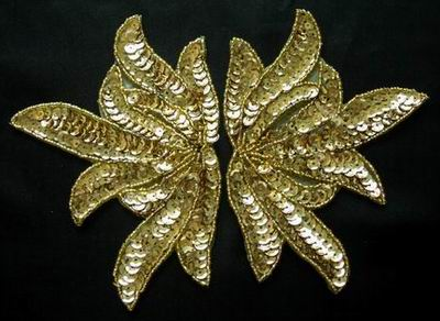 LR81Sequin Bead Applique Mirror Leaf Gold