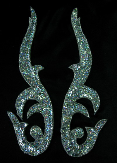 LR96 Pair Flame Sequin Applique Motif Hologram Silver