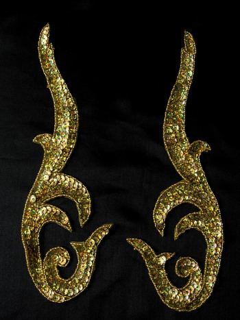Pair Flame Sequin Applique Motif Hologram Gold