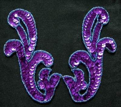 LR14 Pair Left & Right Sequin Bead Applique Purple